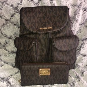 MK backpack and wallet